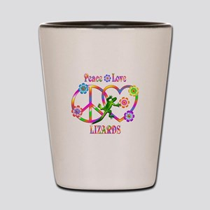 Peace Love Lizards Shot Glass