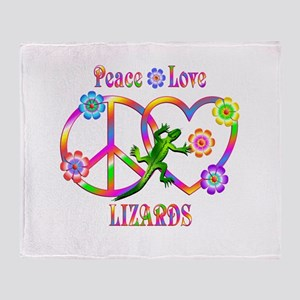 Peace Love Lizards Throw Blanket