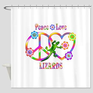 Peace Love Lizards Shower Curtain