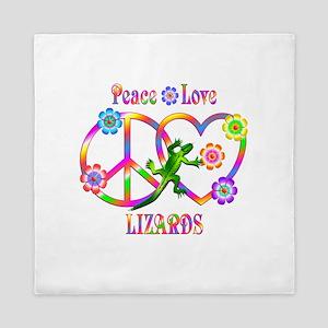 Peace Love Lizards Queen Duvet