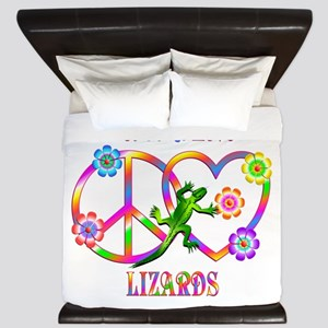 Peace Love Lizards King Duvet