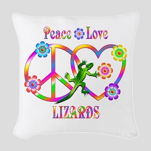 Peace Love Lizards Woven Throw Pillow