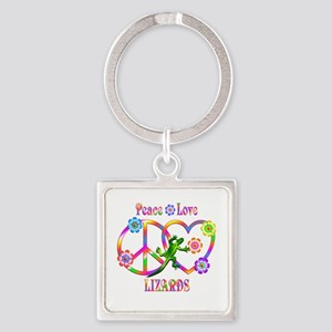 Peace Love Lizards Square Keychain