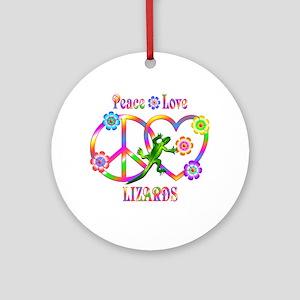 Peace Love Lizards Round Ornament