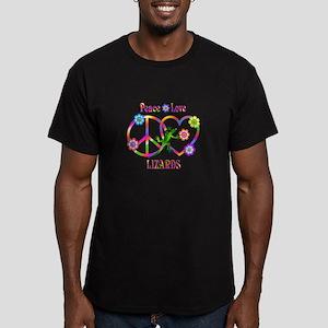 Peace Love Lizards Men's Fitted T-Shirt (dark)