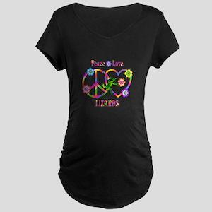 Peace Love Lizards Maternity Dark T-Shirt