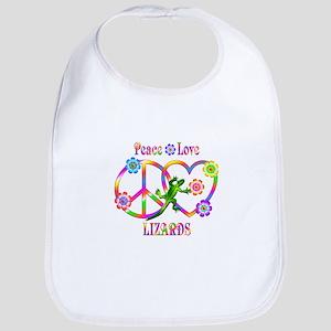 Peace Love Lizards Cotton Baby Bib