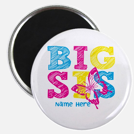 """Butterfly Big Sis 2.25"""" Magnet (100 pack)"""