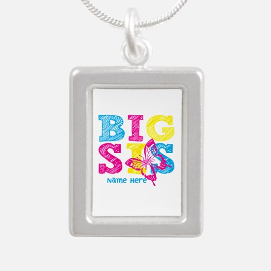 Butterfly Big Sis Silver Portrait Necklace
