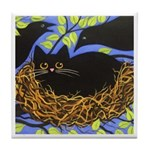 Black CAT In CROWS' Nest ART Tile
