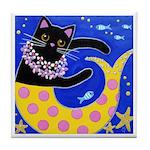 Black CAT Mermaid Mercat ART Tile
