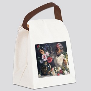 African Women with Peonie Canvas Lunch Bag