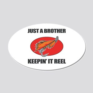 Brother Fishing Humor 20x12 Oval Wall Decal