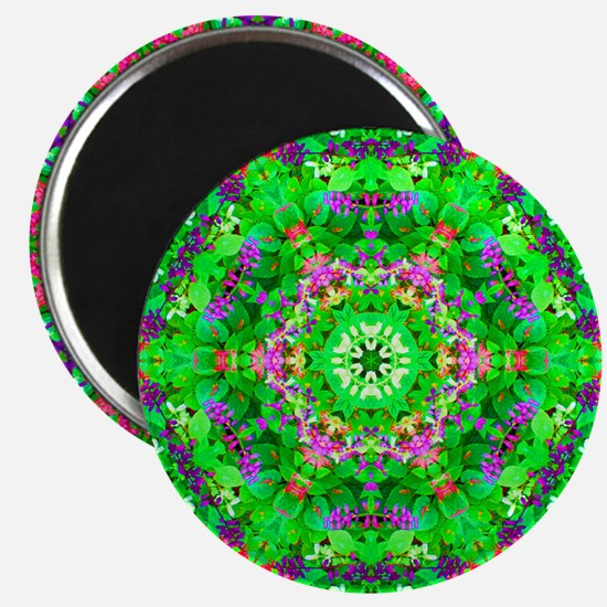Pretty Flowers Green Magnet