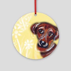 Cute darling dachshund flowers Ornament (Round)