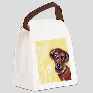 Cute darling dachshund flowers Canvas Lunch Bag