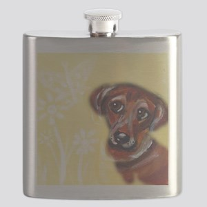 Cute darling dachshund flowers Flask