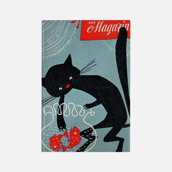 Cat, Fish Bowl, Vintage Poster Rectangle Magnet