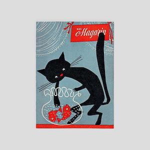 Cat, Fish Bowl, Vintage Poster 5'x7'Area Rug