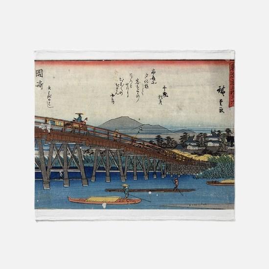 Okazaki 2 - Hiroshige Ando - c1845 - woodcut Throw