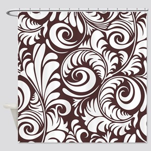 Umber & White Swirls Shower Curtain