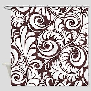 Umber & White Swirls Shower Curtain