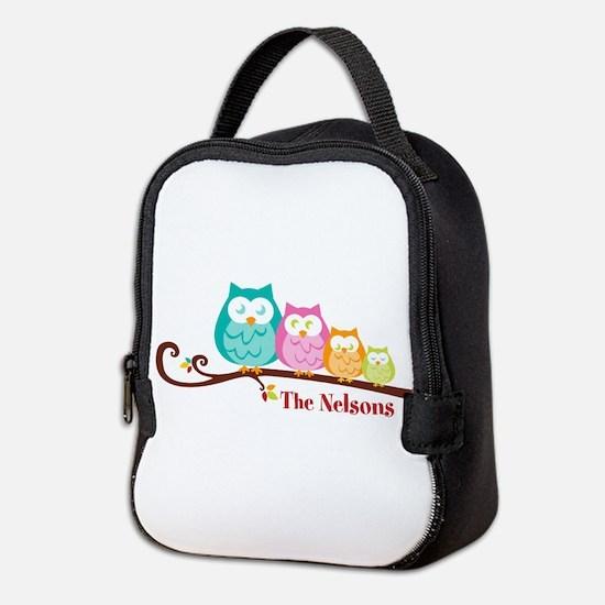 Custom owl family name Neoprene Lunch Bag