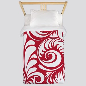 True Red & White Swirls Twin Duvet