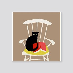Cat on a Chair with a Book, Vintage Poster Sticker