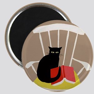 Cat on a Chair with a Book, Vintage Poster Magnet