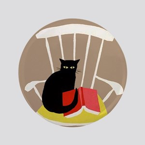 """Cat on a Chair with a Book, Vintage Poster 3.5"""" Bu"""