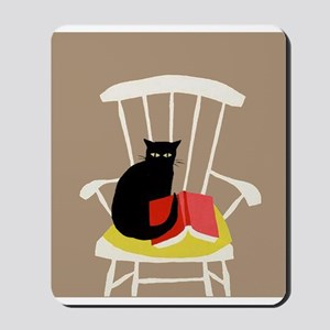 Cat on a Chair with a Book, Vintage Poster Mousepa