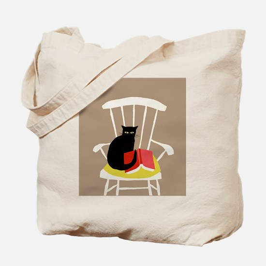 Cat on a Chair with a Book, Vintage Poster Tote Ba