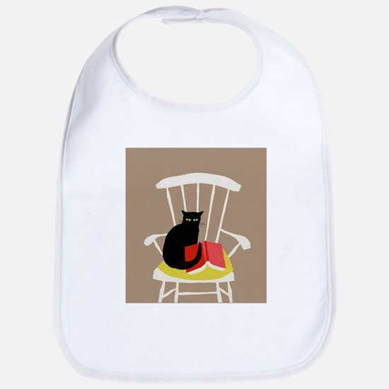 Cat on a Chair with a Book, Vintage Poster Bib