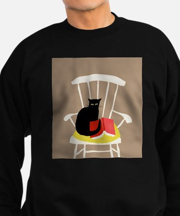 Cat on a Chair with a Book, Vintage Poster Sweatsh