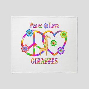 Peace Love Giraffes Throw Blanket