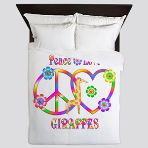 Peace Love Giraffes Queen Duvet