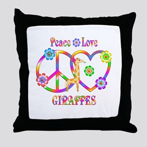 Peace Love Giraffes Throw Pillow