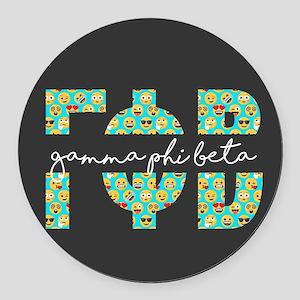 Gamma Phi Beta Letters Emoji Round Car Magnet