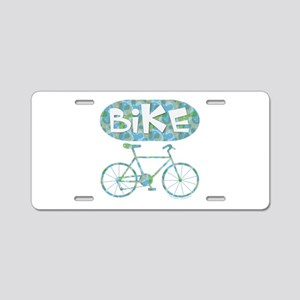 Patterned Bicycle Text Oval Aluminum License Plate