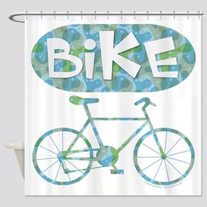 Patterned Bicycle Text Oval Shower Curtain
