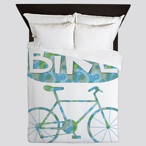 Patterned Bicycle Text Oval Queen Duvet