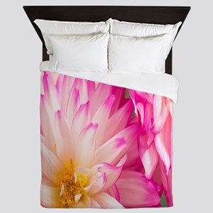 Two White And Pink Dahlias Queen Duvet