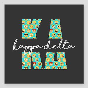 "Kappa Delta Letters Emoj Square Car Magnet 3"" x 3"""