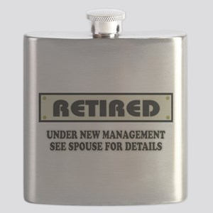 Funny Retirement Gift, Retired, Under New Ma Flask