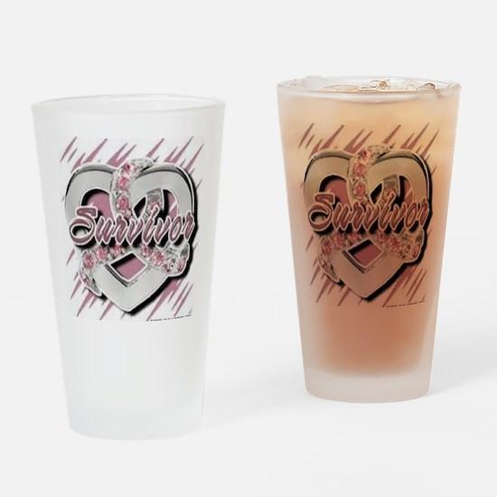 Survivor in Heart Drinking Glass