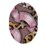 Leopards and Lace - Pink Ornament (Oval)