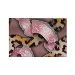 Leopards and Lace - Pink Rectangle Magnet (100 pac