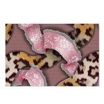 Leopards and Lace - Pink Postcards (Package of 8)