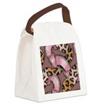 Leopards and Lace - Pink Canvas Lunch Bag